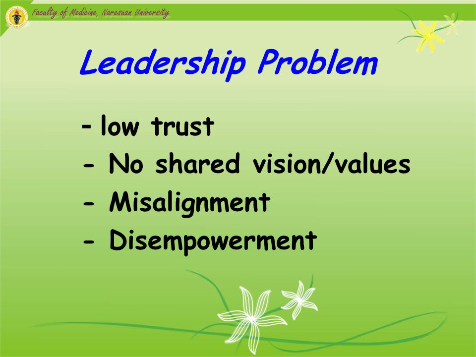 Leadership Problem - low trust - No shared vision/values - Misalignment - Disempowerment
