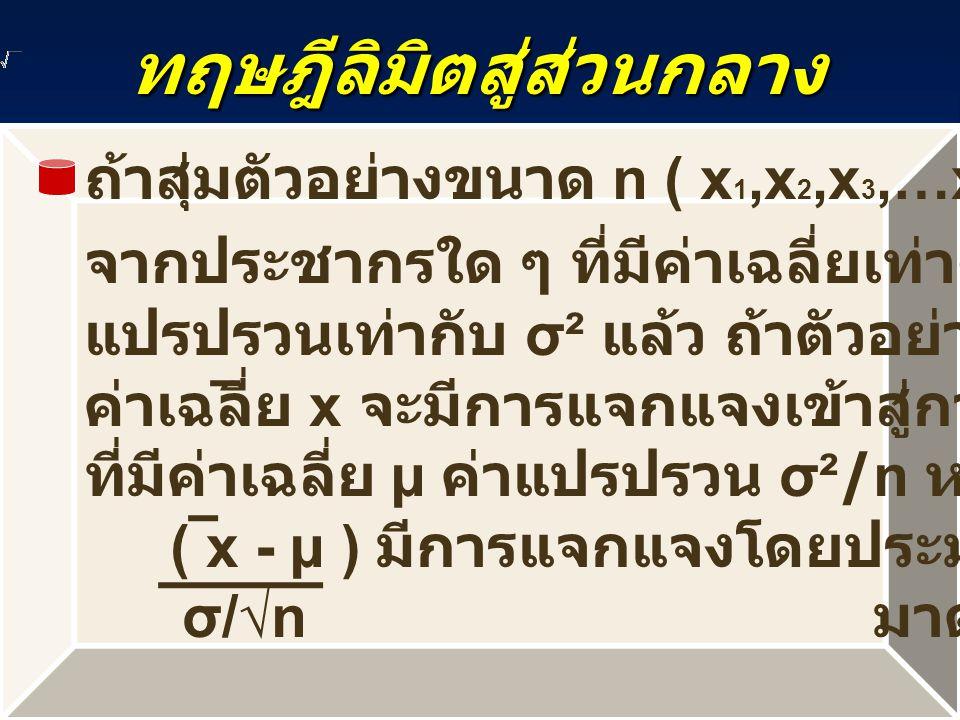 ทฤษฎีลิมิตสู่ส่วนกลาง ถ้าสุ่มตัวอย่างขนาด n ( x 1,x 2,x 3,…x n ) จากประชากรใด ๆ ที่มีค่าเฉลี่ยเท่ากับ µ และค่าความ แปรปรวนเท่ากับ σ² แล้ว ถ้าตัวอย่างมีขนาดใหญ่แล้ว ค่าเฉลี่ย x จะมีการแจกแจงเข้าสู่การแจกแจงแบบปกติ ที่มีค่าเฉลี่ย µ ค่าแปรปรวน σ²/n หรือ ( x - µ ) มีการแจกแจงโดยประมาณแบบปกติ σ/√n มาตรฐาน