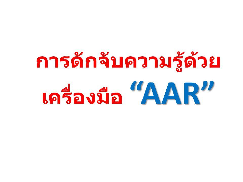 AAR การดักจับความรู้ด้วย เครื่องมือ AAR