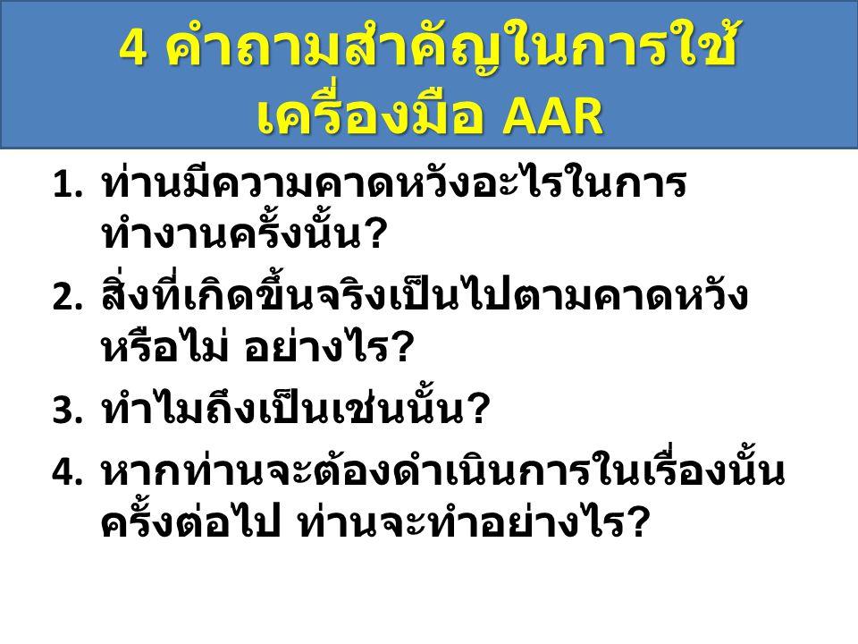 4 คำถามสำคัญในการใช้ เครื่องมือ AAR 1.ท่านมีความคาดหวังอะไรในการ ทำงานครั้งนั้น .