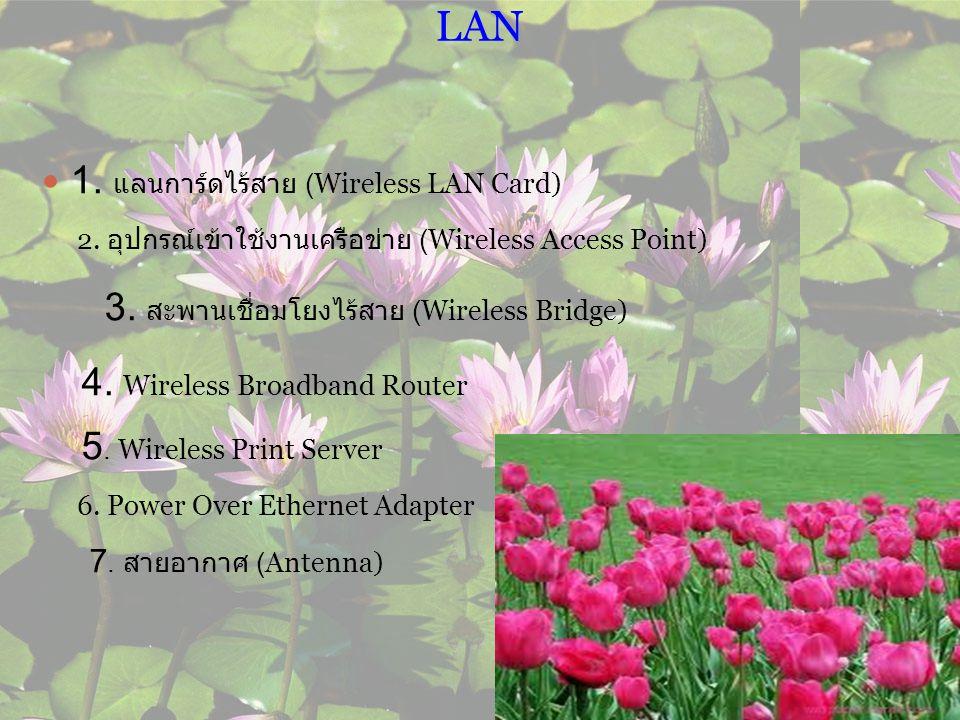 อุปกรณ์สำหรับการเชื่อมต่อระบบเครือข่าย Wireles s LAN 1.