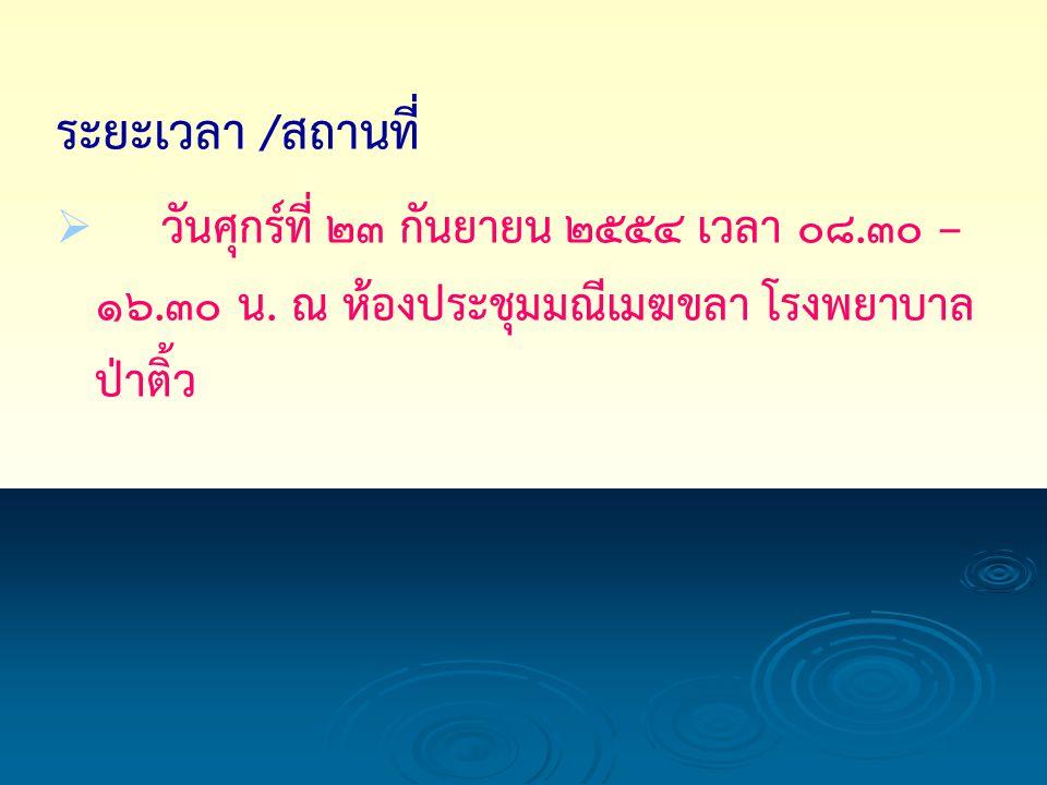 ระยะเวลา / สถานที่   วันศุกร์ที่ 23 กันยายน 2554 เวลา 08.30 – 16.30 น.