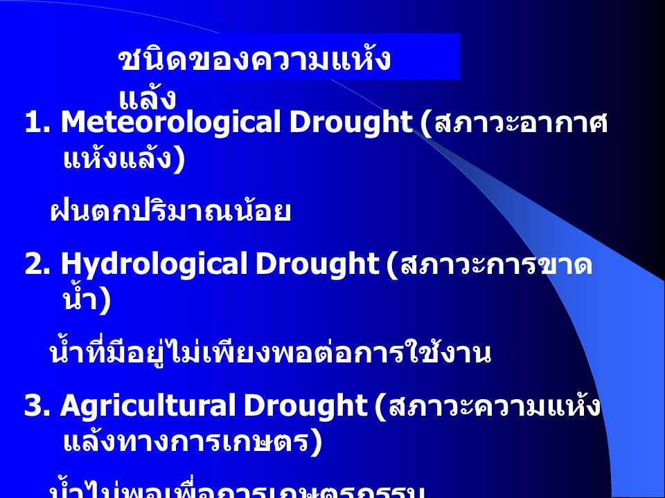 ชนิดของความแห้ง แล้ง 1. Meteorological Drought ( สภาวะอากาศ แห้งแล้ง ) ฝนตกปริมาณน้อย 2. Hydrological Drought ( สภาวะการขาด น้ำ ) น้ำที่มีอยู่ไม่เพียง