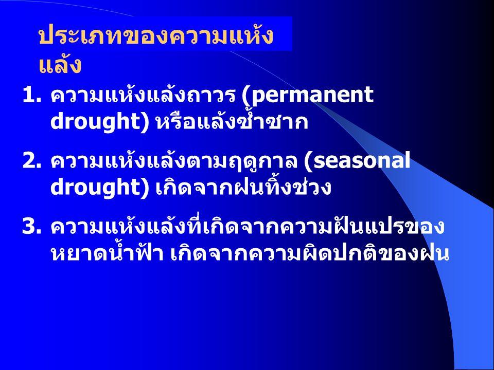 ดัชนีความแห้งแล้ง (Aridity Index) I = D E x100 a I a = ดัชนีความแห้งแล้ง (Aridity Index) D = ปริมาณน้ำขาดแคลน (Water Deficit) D= P(Precipitation) -E (Evaporation) E = ปริมาณน้ำระเหยจากการวัดการ ระเหย (Ep) ปานกลาง (0-0.5) รุนแรง [(-0.5)-(-1)] รุนแรงมาก [(-1)-(-2)] รุนแรง มากที่สุด (<-2)