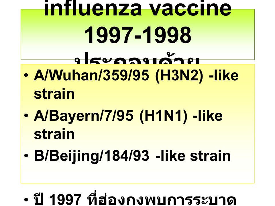 influenza vaccine 1997-1998 ประกอบด้วย A/Wuhan/359/95 (H3N2) -like strain A/Bayern/7/95 (H1N1) -like strain B/Beijing/184/93 -like strain ปี 1997 ที่ฮ