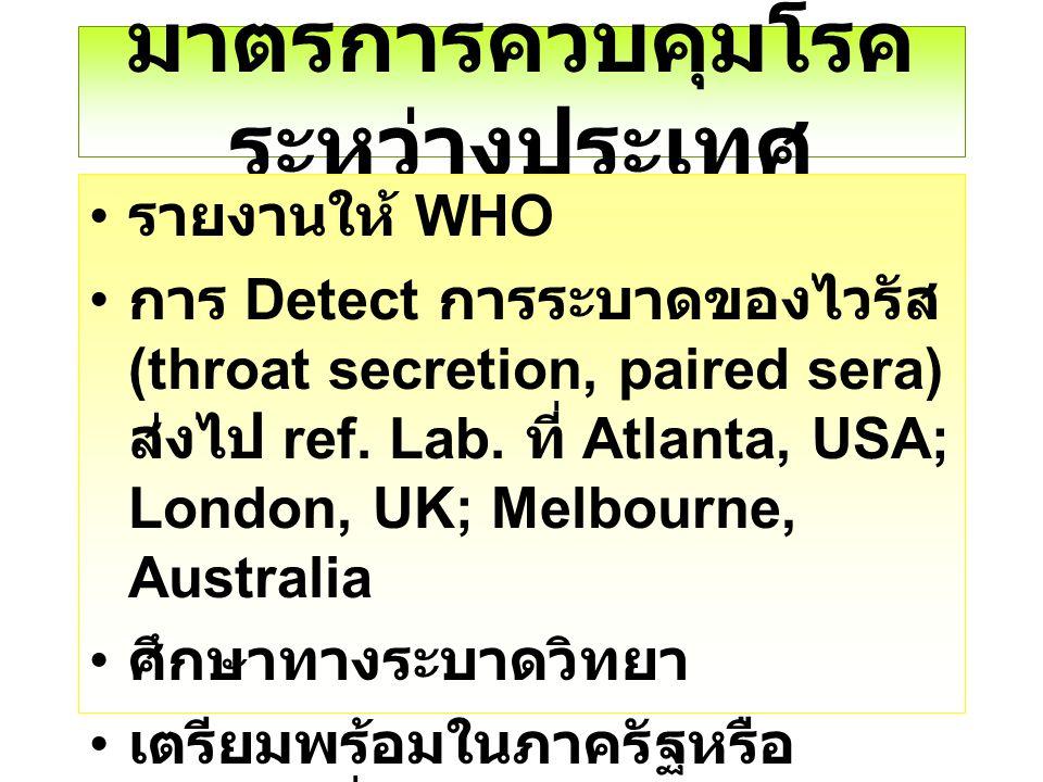 มาตรการควบคุมโรค ระหว่างประเทศ รายงานให้ WHO การ Detect การระบาดของไวรัส (throat secretion, paired sera) ส่งไป ref. Lab. ที่ Atlanta, USA; London, UK;