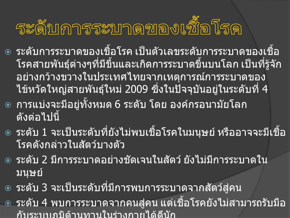 ระดับการระบาดของเชื้อโรค เป็นตัวเลขระดับการระบาดของเชื้อ โรคสายพันธุ์ต่างๆที่มีขึ้นและเกิดการระบาดขึ้นบนโลก เป็นที่รู้จัก อย่างกว้างขวางในประเทศไทยจากเหตุการณ์การระบาดของ ไข้หวัดใหญ่สายพันธุ์ใหม่ 2009 ซึ่งในปัจจุบันอยู่ในระดับที่ 4  การแบ่งจะมีอยู่ทั้งหมด 6 ระดับ โดย องค์กรอนามัยโลก ดังต่อไปนี้  ระดับ 1 จะเป็นระดับที่ยังไม่พบเชื้อโรคในมนุษย์ หรืออาจจะมีเชื้อ โรคดังกล่าวในสัตว์บางตัว  ระดับ 2 มีการระบาดอย่างชัดเจนในสัตว์ ยังไม่มีการระบาดใน มนุษย์  ระดับ 3 จะเป็นระดับที่มีการพบการระบาดจากสัตว์สู่คน  ระดับ 4 พบการระบาดจากคนสู่คน แต่เชื้อโรคยังไม่สามารถรับมือ กับระบบภูมิต้านทานในร่างกายได้ดีนัก  ระดับ 5 มีการระบาดในวงกว้างขึ้น เชื้อโรคสามารถรับมือกับระบบ ภูมิต้านทานในร่างกายได้ดีขึ้น  ระดับ 6 เกิดการระบาดของเชื้อโรคทั่วโลก