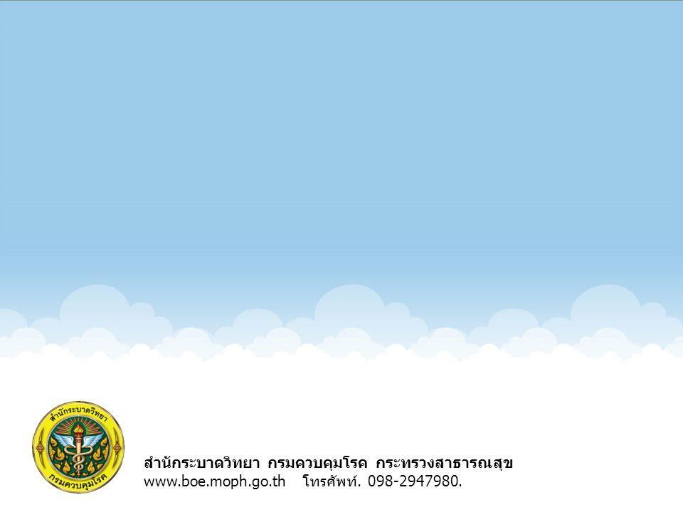 สำนักระบาดวิทยา กรมควบคุมโรค กระทรวงสาธารณสุข www.boe.moph.go.th โทรศัพท์. 098-2947980.