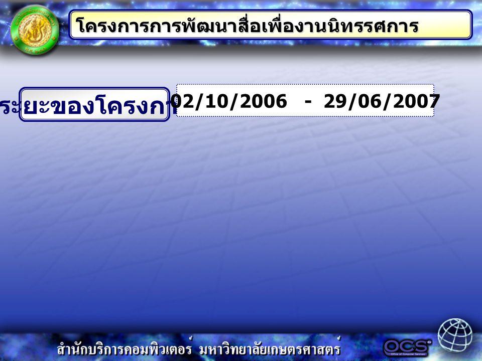 ระยะของโครงการ โครงการการพัฒนาสื่อเพื่องานนิทรรศการ 02/10/2006 - 29/06/2007