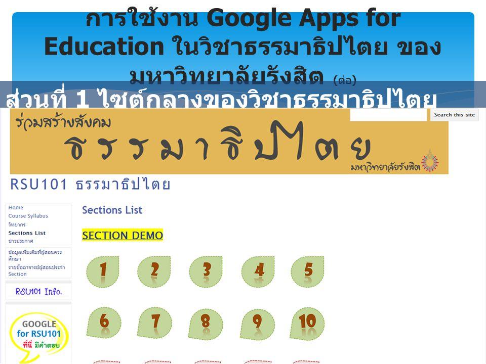 การใช้งาน Google Apps for Education ในวิชาธรรมาธิปไตย ของ มหาวิทยาลัยรังสิต ( ต่อ ) ส่วนที่ 1 ไซต์กลางของวิชาธรรมาธิปไตย