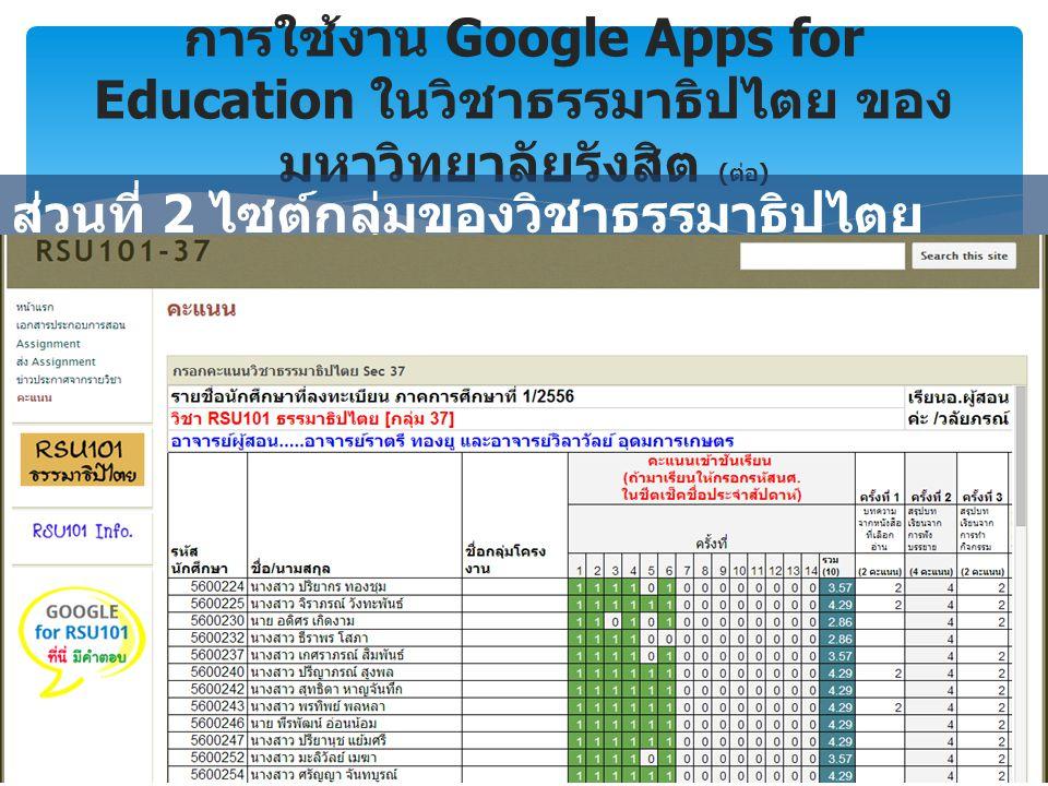 การใช้งาน Google Apps for Education ในวิชาธรรมาธิปไตย ของ มหาวิทยาลัยรังสิต ( ต่อ ) ส่วนที่ 2 ไซต์กลุ่มของวิชาธรรมาธิปไตย