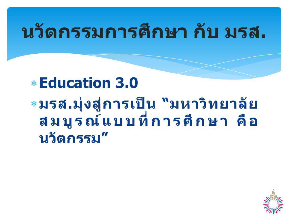 """ Education 3.0  มรส. มุ่งสู่การเป็น """" มหาวิทยาลัย สมบูรณ์แบบที่การศึกษา คือ นวัตกรรม """" นวัตกรรมการศึกษา กับ มรส."""