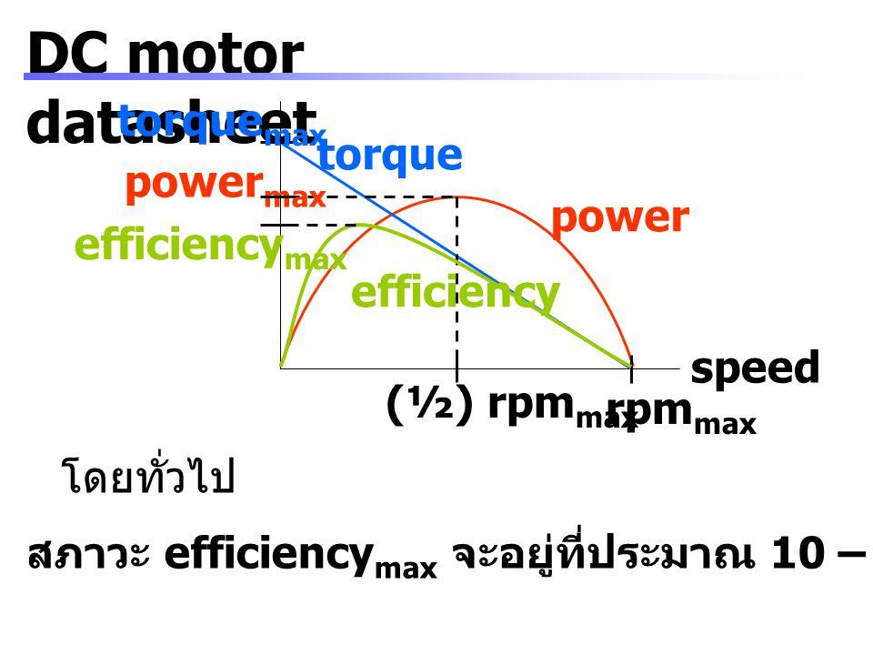 DC motor datasheet Friction torque แรงบิดที่เสียไปกับแรงเสียดทานที่ส่วนต่างๆ Speed constant ใช้หาค่าความเร็วรอบขณะไม่มีภาระ หน่วยเป็น rpm/V Ex.