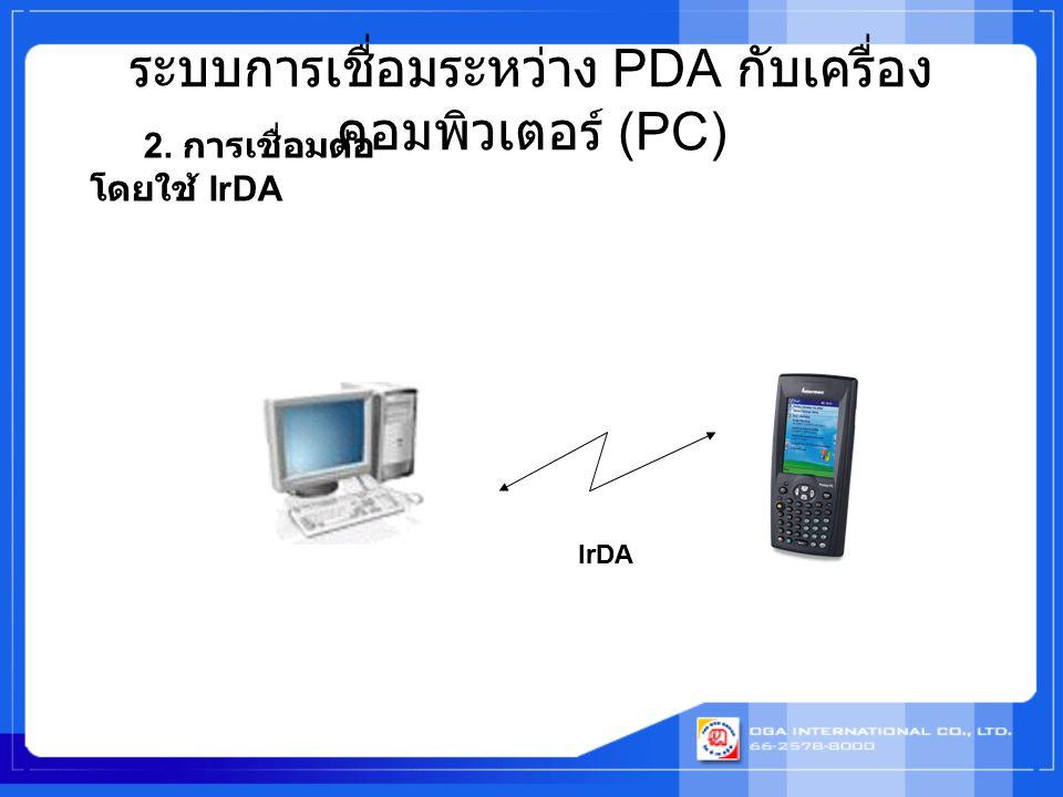 ระบบการเชื่อมระหว่าง PDA กับเครื่อง คอมพิวเตอร์ (PC) IrDA 2. การเชื่อมต่อ โดยใช้ IrDA