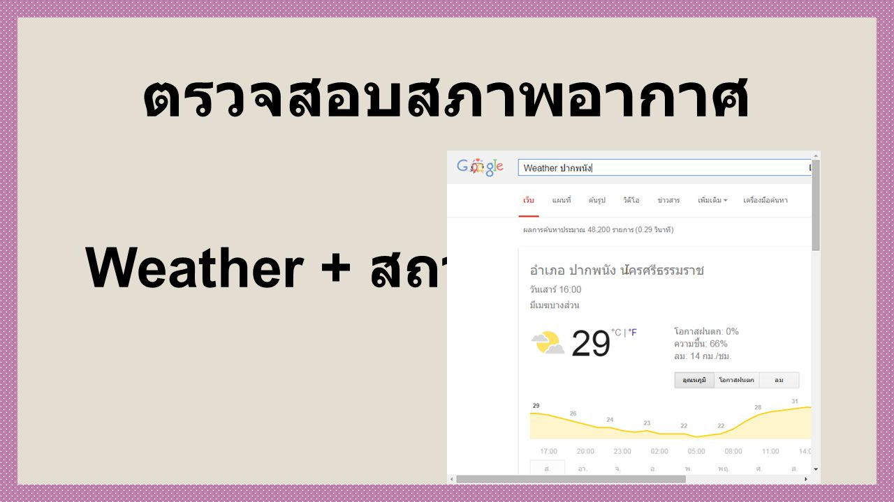 ตรวจสอบสภาพอากาศ Weather + สถานที่
