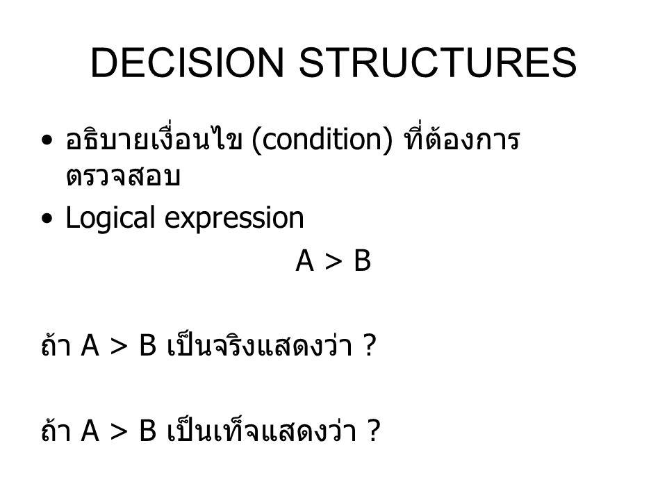 DECISION STRUCTURES อธิบายเงื่อนไข (condition) ที่ต้องการ ตรวจสอบ Logical expression A > B ถ้า A > B เป็นจริงแสดงว่า ? ถ้า A > B เป็นเท็จแสดงว่า ?