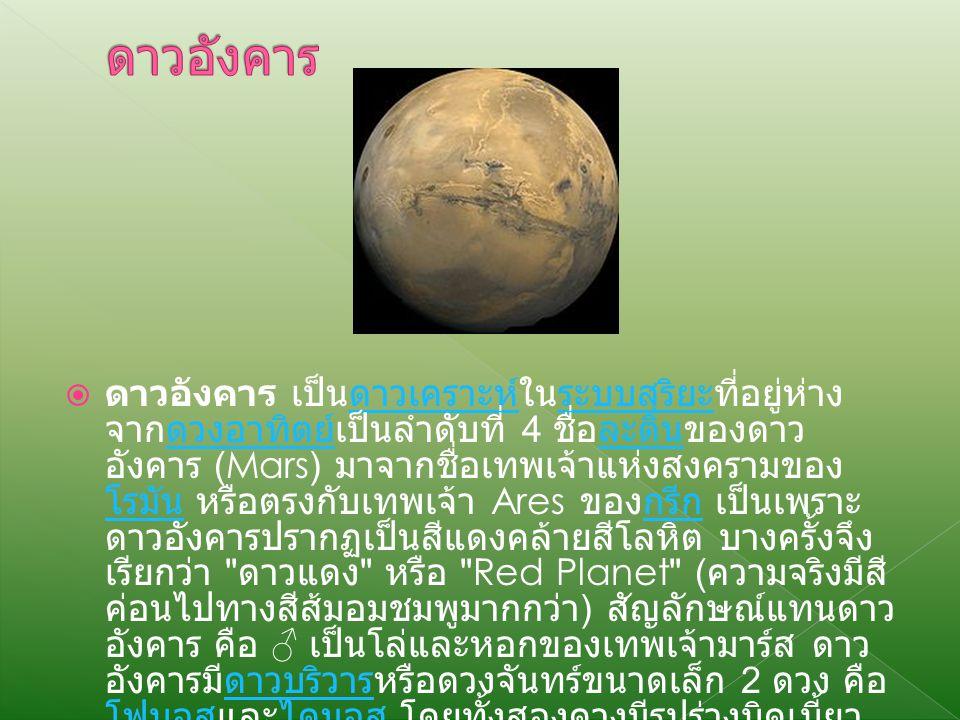  ดาวอังคาร เป็นดาวเคราะห์ในระบบสุริยะที่อยู่ห่าง จากดวงอาทิตย์เป็นลำดับที่ 4 ชื่อละตินของดาว อังคาร (Mars) มาจากชื่อเทพเจ้าแห่งสงครามของ โรมัน หรือตรงกับเทพเจ้า Ares ของกรีก เป็นเพราะ ดาวอังคารปรากฏเป็นสีแดงคล้ายสีโลหิต บางครั้งจึง เรียกว่า ดาวแดง หรือ Red Planet ( ความจริงมีสี ค่อนไปทางสีส้มอมชมพูมากกว่า ) สัญลักษณ์แทนดาว อังคาร คือ ♂ เป็นโล่และหอกของเทพเจ้ามาร์ส ดาว อังคารมีดาวบริวารหรือดวงจันทร์ขนาดเล็ก 2 ดวง คือ โฟบอสและไดมอส โดยทั้งสองดวงมีรูปร่างบิดเบี้ยว ไม่เป็นรูปกลม ซึ่งคาดกันว่าอาจเป็นดาวเคราะห์น้อยที่ หลงเข้าดาวเคราะห์ระบบสุริยะดวงอาทิตย์ละติน โรมันกรีกดาวบริวาร โฟบอสไดมอสดาวเคราะห์น้อย