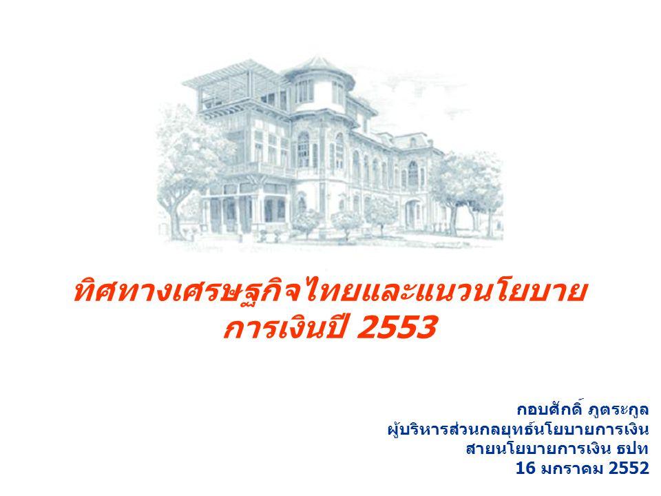 ทิศทางเศรษฐกิจไทยและแนวนโยบาย การเงินปี 2553 กอบศักดิ์ ภูตระกูล ผู้บริหารส่วนกลยุทธ์นโยบายการเงิน สายนโยบายการเงิน ธปท 16 มกราคม 2552
