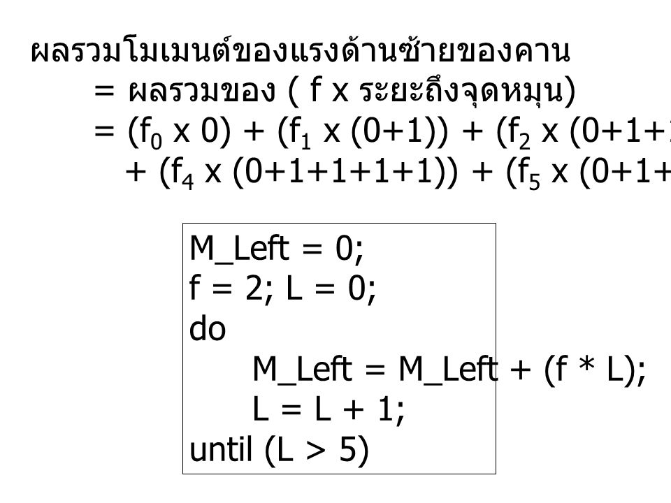 M_Left = 0; f = 2; L = 0; do M_Left = M_Left + (f * L); L = L + 1; until (L > 5) ผลรวมโมเมนต์ของแรงด้านซ้ายของคาน = ผลรวมของ ( f x ระยะถึงจุดหมุน ) = (f 0 x 0) + (f 1 x (0+1)) + (f 2 x (0+1+1)) + (f 3 x (0+1+1+1)) + (f 4 x (0+1+1+1+1)) + (f 5 x (0+1+1+1+1+1))
