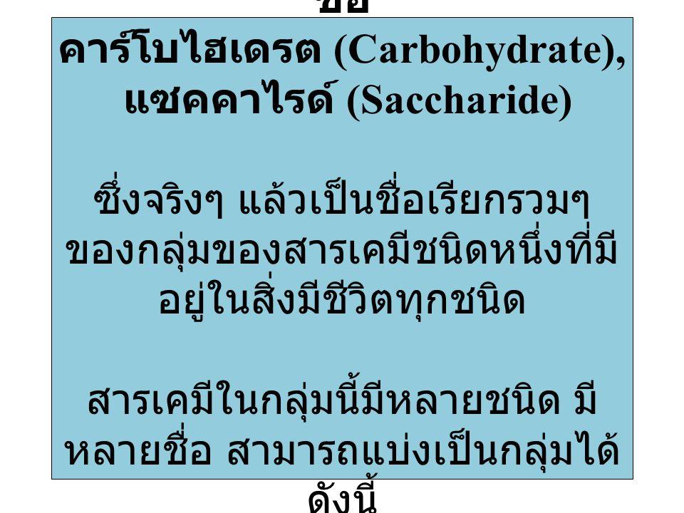 ชื่อ คาร์โบไฮเดรต (Carbohydrate), แซคคาไรด์ (Saccharide) ซึ่งจริงๆ แล้วเป็นชื่อเรียกรวมๆ ของกลุ่มของสารเคมีชนิดหนึ่งที่มี อยู่ในสิ่งมีชีวิตทุกชนิด สาร