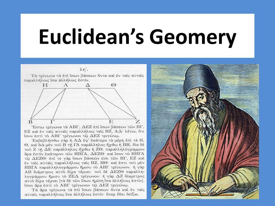 Euclid's Elements Book 1: รูปสามเหลี่ยม เส้นตั้งฉาก เส้นขนาน พื้นที่ของรูปเหลี่ยม ต่างๆ และทฤษฏีบทพีทากอรัส Book 2: การแปลงพื้นที่ พีชคณิตเชิงเรขาคณิต Book 3: วงกลม คอร์ด และเส้นสัมผัส Book 4: รูปหลายเหลี่ยม และวงกลม การสร้าง รูปหลายเหลี่ยมปกติ Book 5: สัดส่วน Book 6: การนำสัดส่วนมาประยุกต์ใช้ Book 7: ทฤษฏีจำนวน