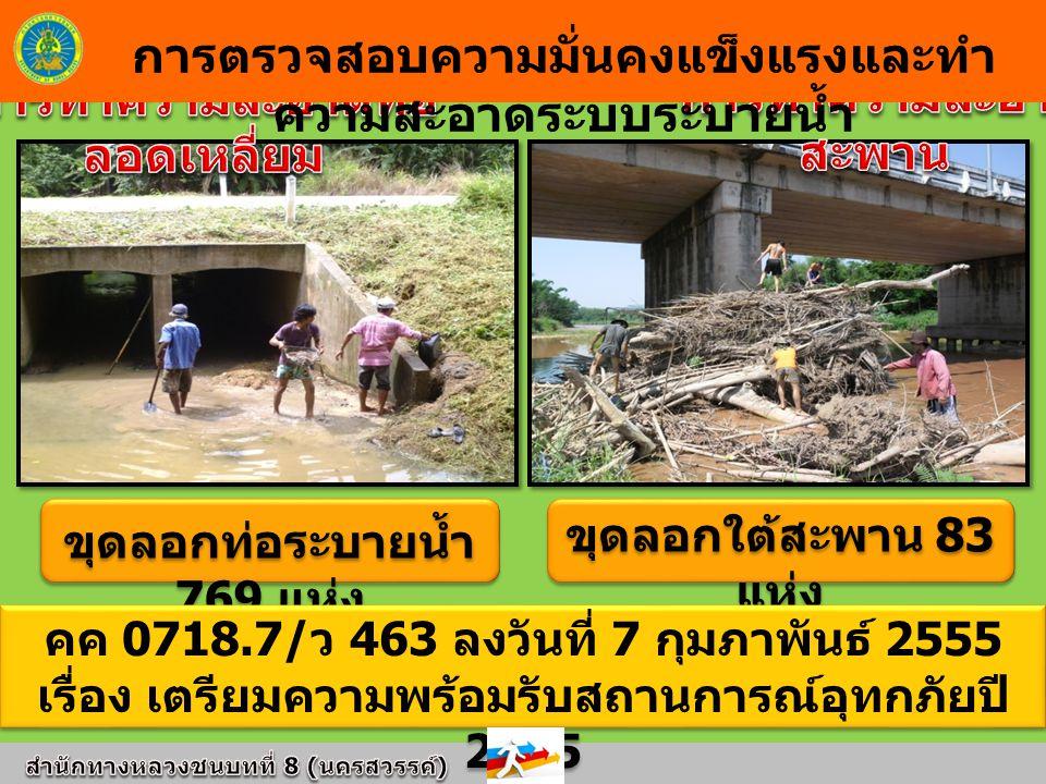 ขุดลอกท่อระบายน้ำ 769 แห่ง ขุดลอกใต้สะพาน 83 แห่ง การตรวจสอบความมั่นคงแข็งแรงและทำ ความสะอาดระบบระบายน้ำ คค 0718.7/ ว 463 ลงวันที่ 7 กุมภาพันธ์ 2555 เรื่อง เตรียมความพร้อมรับสถานการณ์อุทกภัยปี 2555