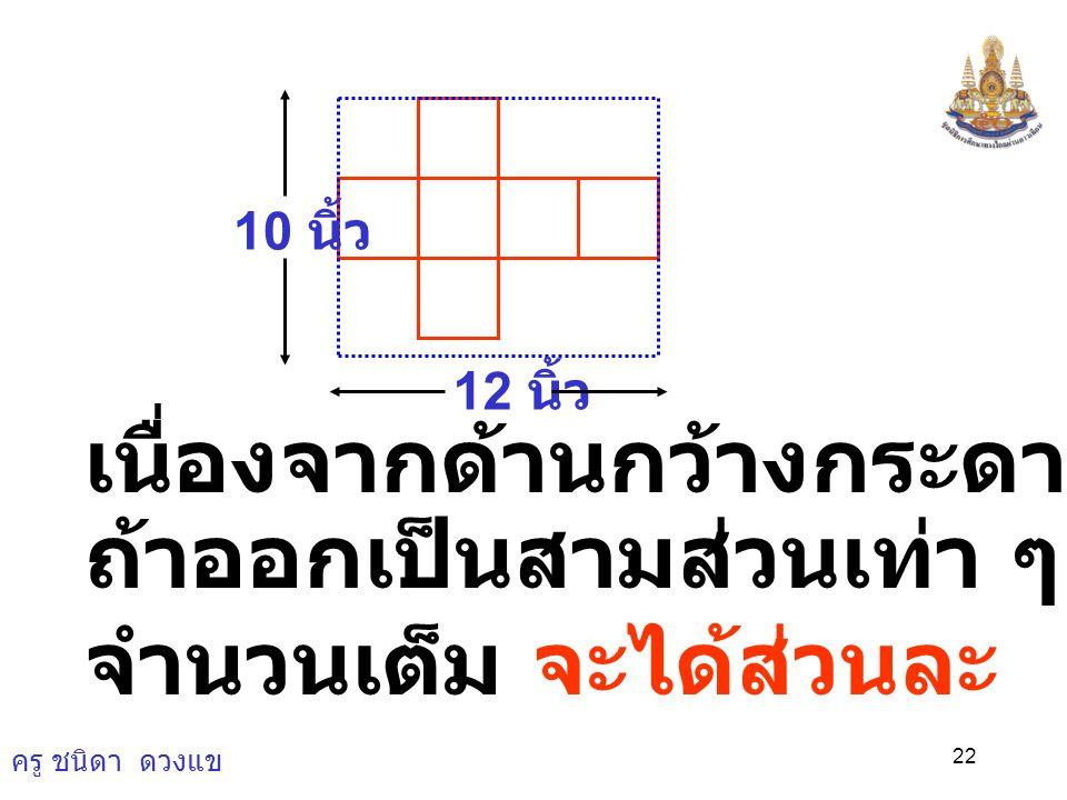 ครู ชนิดา ดวงแข 21 4) ในการทำกล่องทรงลูกบาศก์มักจะ ตัดกระดาษรูปสี่เหลี่ยมผืนผ้าขนาด กว้าง 10 นิ้ว ยาว 12 นิ้ว และต้องการ ทำให้กล่องมีปริมาตรมากที่สุดจ