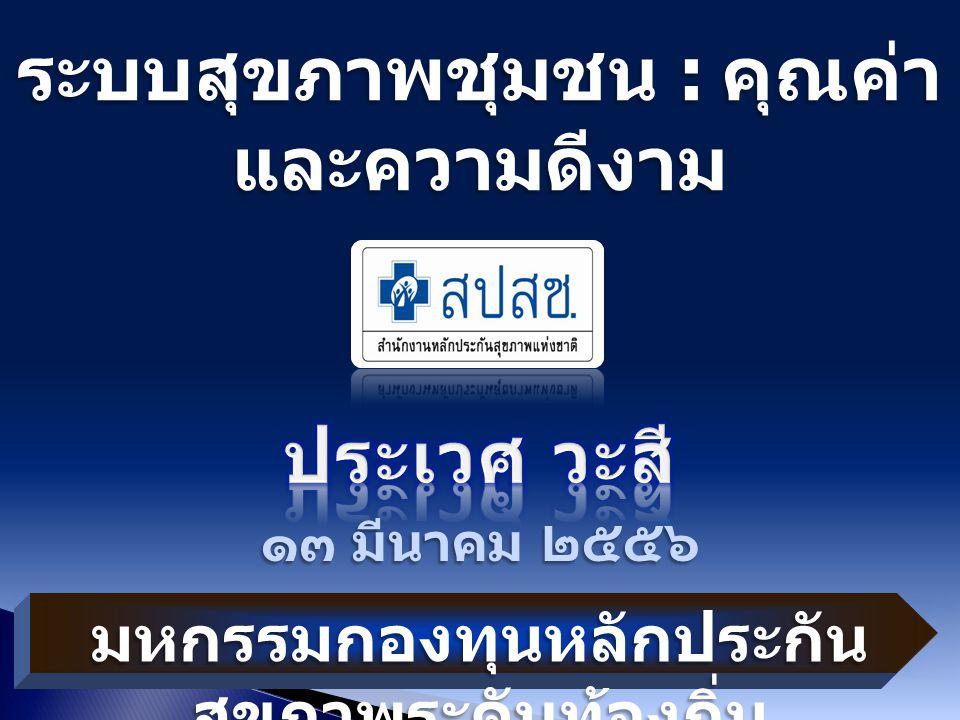ระบบสุขภาพชุมชน : คุณค่า และความดีงาม ๑๓ มีนาคม ๒๕๕๖ มหกรรมกองทุนหลักประกัน สุขภาพระดับท้องถิ่น