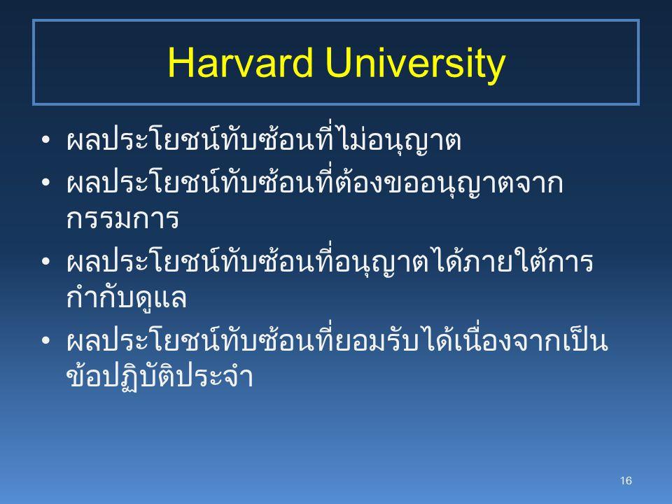 Harvard University ผลประโยชน์ทับซ้อนที่ไม่อนุญาต ผลประโยชน์ทับซ้อนที่ต้องขออนุญาตจาก กรรมการ ผลประโยชน์ทับซ้อนที่อนุญาตได้ภายใต้การ กำกับดูแล ผลประโยชน์ทับซ้อนที่ยอมรับได้เนื่องจากเป็น ข้อปฏิบัติประจำ 16