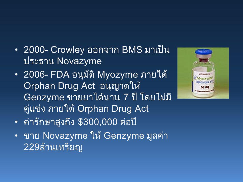 2000- Crowley ออกจาก BMS มาเป็น ประธาน Novazyme 2006- FDA อนุมัติ Myozyme ภายใต้ Orphan Drug Act อนุญาตให้ Genzyme ขายยาได้นาน 7 ปี โดยไม่มี คู่แข่ง ภายใต้ Orphan Drug Act ค่ารักษาสูงถึง $300,000 ต่อปี ขาย Novazyme ให้ Genzyme มูลค่า 229ล้านเหรียญ