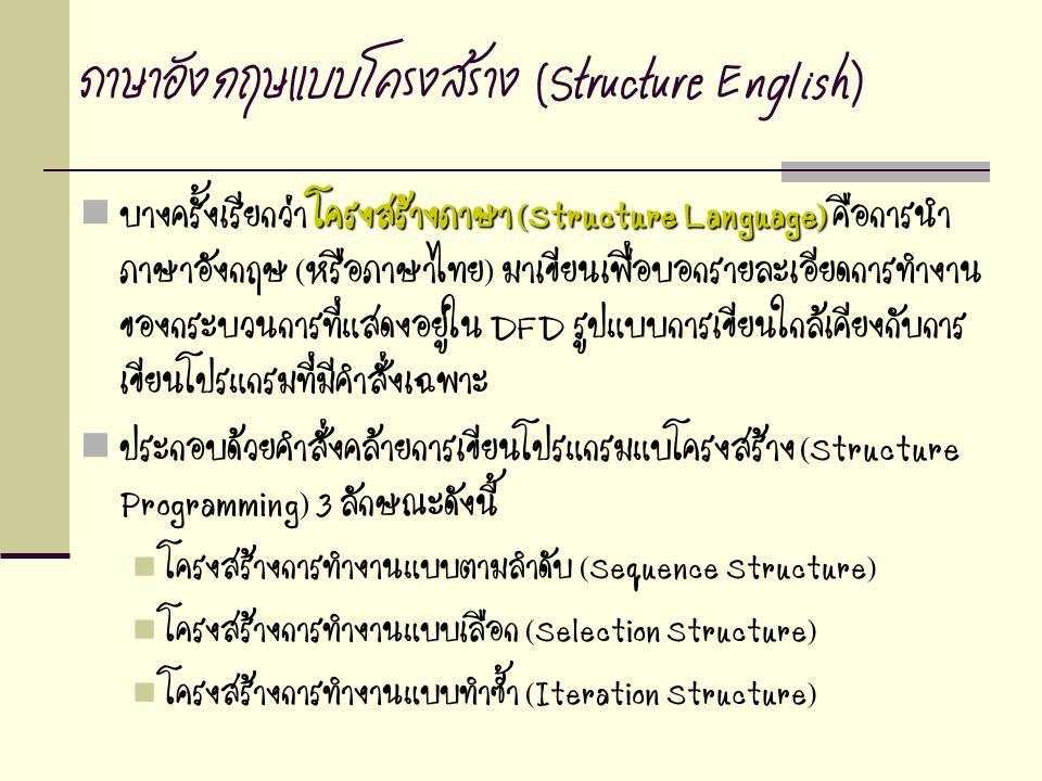 ภาษาอังกฤษแบบโครงสร้าง (Structure English) โครงสร้างภาษา (Structure Language) บางครั้งเรียกว่า โครงสร้างภาษา (Structure Language) คือการนำ ภาษาอังกฤษ