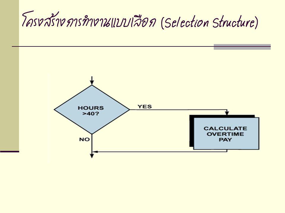 โครงสร้างการทำงานแบบเลือก (Selection Structure)