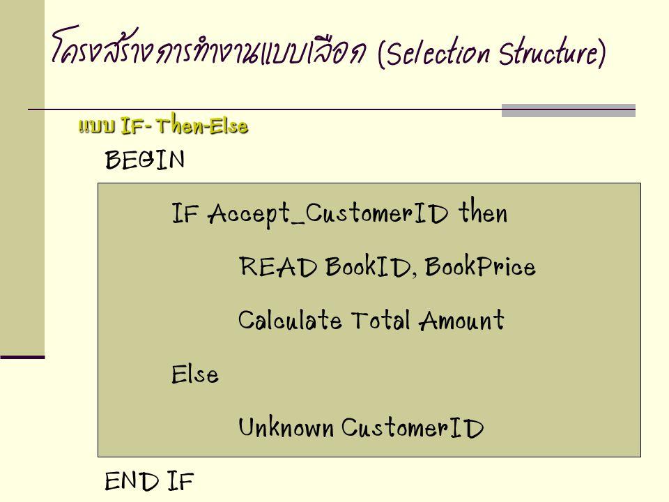 BEGIN IF Accept_CustomerID then READ BookID, BookPrice Calculate Total Amount Else Unknown CustomerID END IF โครงสร้างการทำงานแบบเลือก (Selection Stru