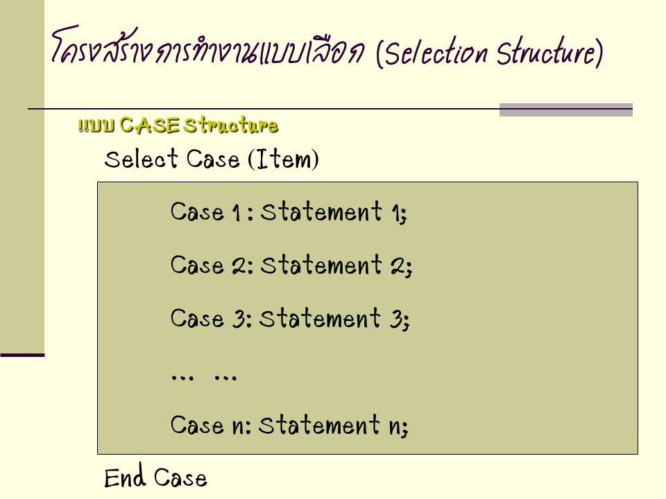 Select Case (Item) Case 1 : Statement 1; Case 2: Statement 2; Case 3: Statement 3; … Case n: Statement n; End Case โครงสร้างการทำงานแบบเลือก (Selection Structure) แบบ CASE Structure