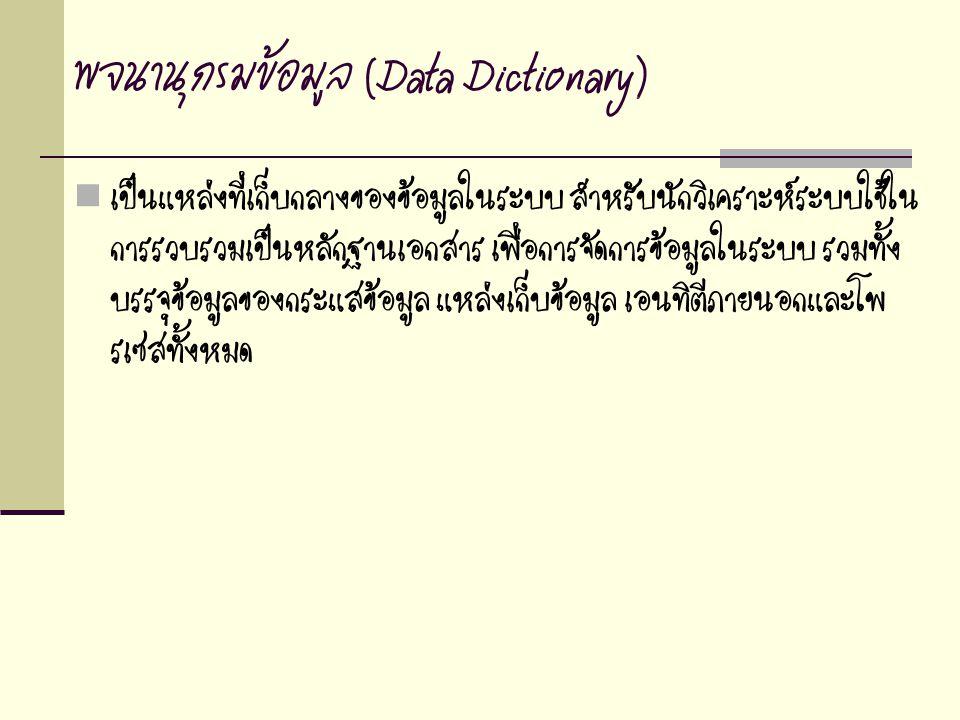 พจนานุกรมข้อมูล (Data Dictionary) เป็นแหล่งที่เก็บกลางของข้อมูลในระบบ สำหรับนักวิเคราะห์ระบบใช้ใน การรวบรวมเป็นหลักฐานเอกสาร เพื่อการจัดการข้อมูลในระบ