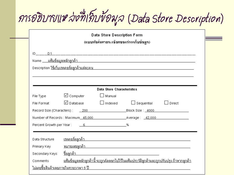 การอธิบายแหล่งที่เก็บข้อมูล (Data Store Description)