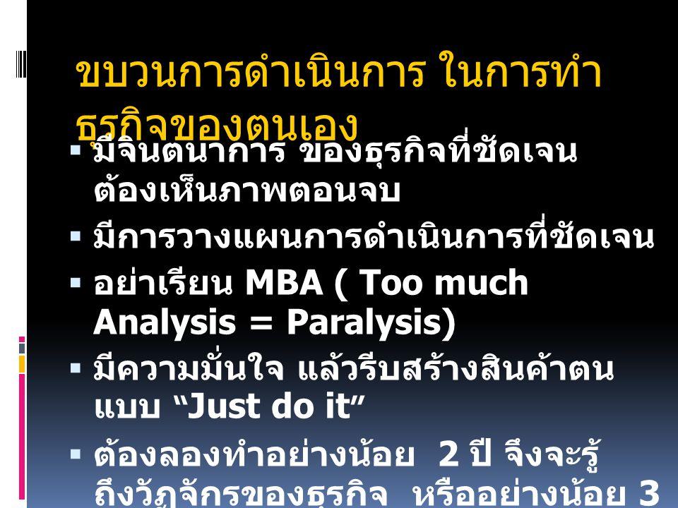 ขบวนการดำเนินการ ในการทำ ธุรกิจของตนเอง  มีจินตนาการ ของธุรกิจที่ชัดเจน ต้องเห็นภาพตอนจบ  มีการวางแผนการดำเนินการที่ชัดเจน  อย่าเรียน MBA ( Too much Analysis = Paralysis)  มีความมั่นใจ แล้วรีบสร้างสินค้าตน แบบ Just do it  ต้องลองทำอย่างน้อย 2 ปี จึงจะรู้ ถึงวัฏจักรของธุรกิจ หรืออย่างน้อย 3 ปี ถึงจะปรับได้อย่างถูกต้อง