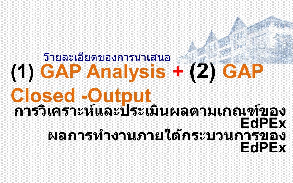 ร ายละเอียดของการนำเสนอ (1) GAP Analysis + (2) GAP Closed -Output การวิเคราะห์และประเมินผลตามเกณฑ์ของ EdPEx ผลการทำงานภายใต้กระบวนการของ EdPEx