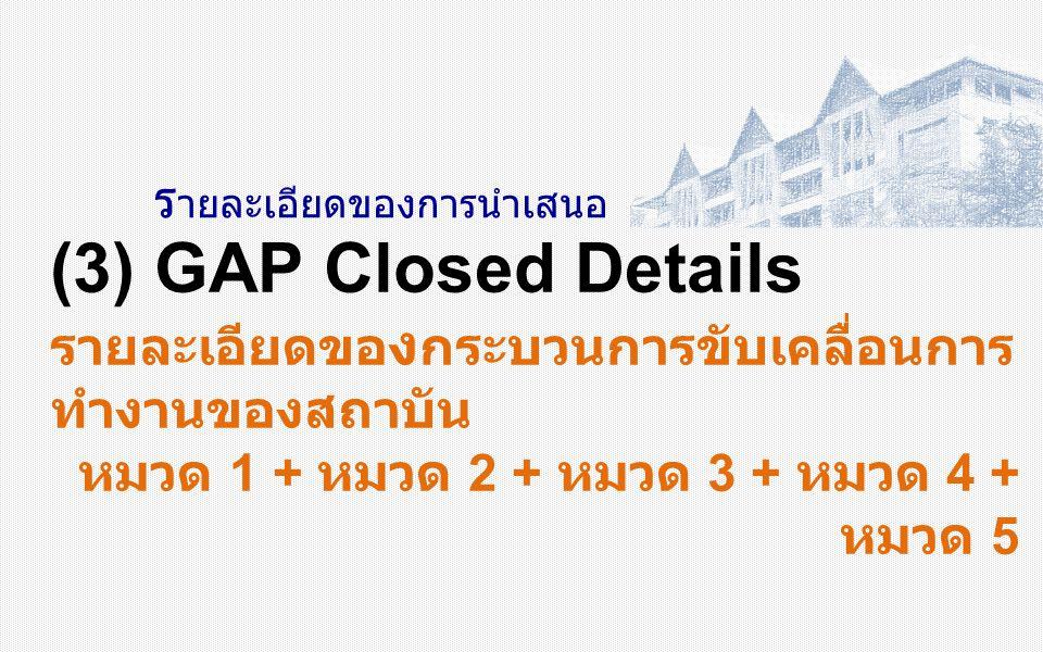 ร ายละเอียดของการนำเสนอ (3) GAP Closed Details รายละเอียดขอ ง กระบวนการขับเคลื่อนการ ทำงานของสถาบัน หมวด 1 + หมวด 2 + หมวด 3 + หมวด 4 + หมวด 5