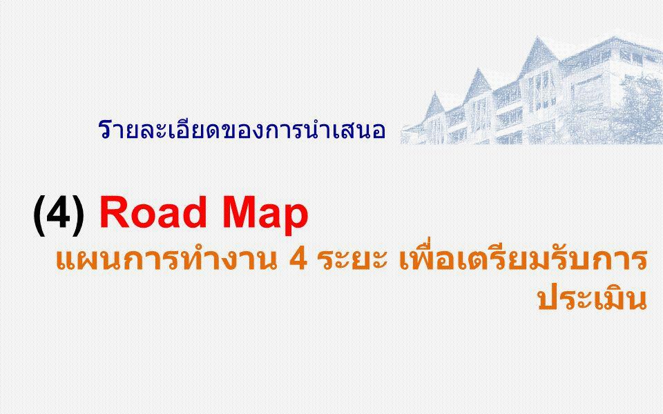 ร ายละเอียดของการนำเสนอ (4) Road Map แผนการทำงาน 4 ระยะ เพื่อเตรียมรับการ ประเมิน