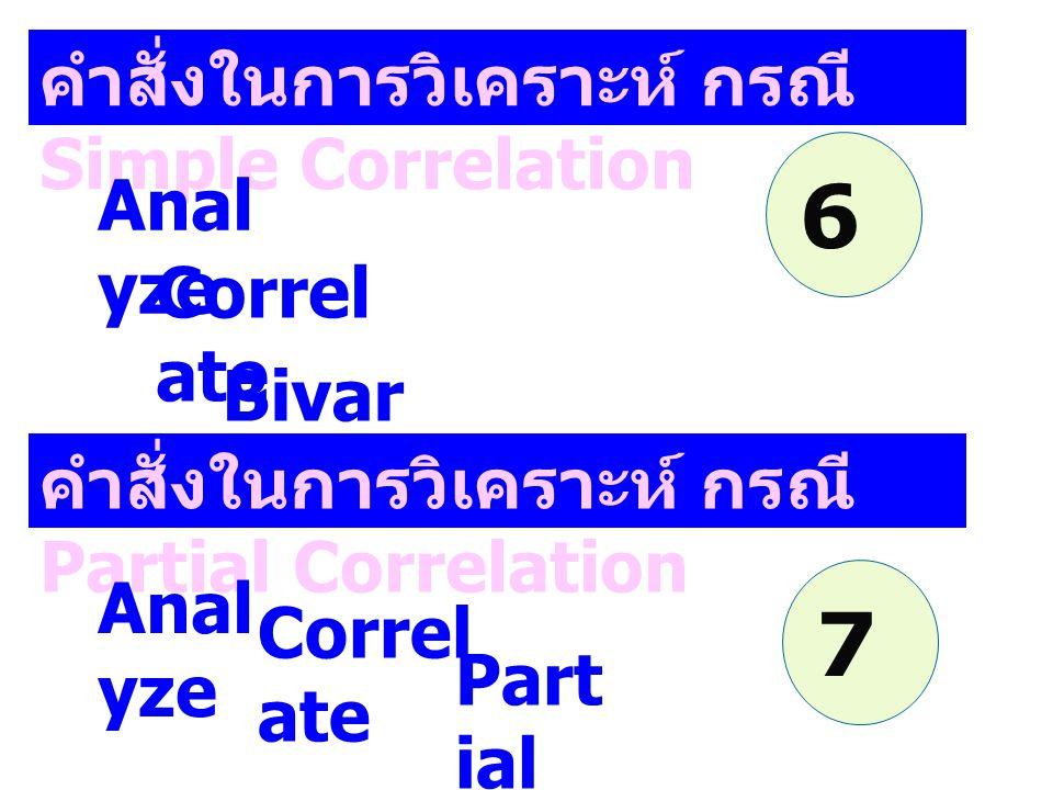 คำสั่งในการวิเคราะห์ กรณี Simple Correlation Anal yze Correl ate Bivar iate คำสั่งในการวิเคราะห์ กรณี Partial Correlation Anal yze Correl ate Part ial