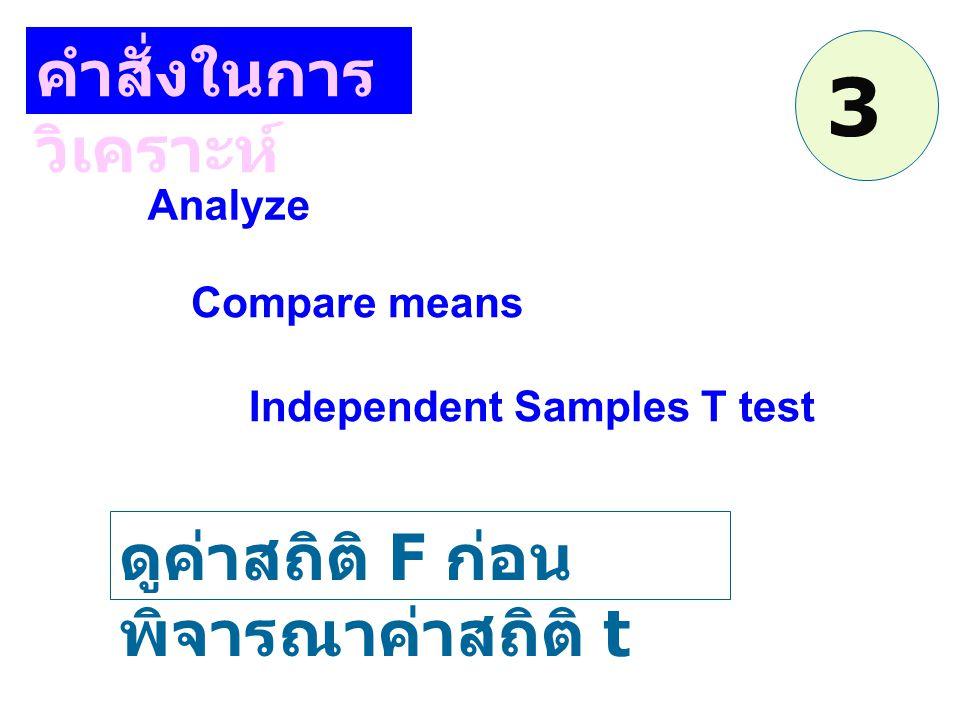 คำสั่งในการ วิเคราะห์ Analyze Independent Samples T test Compare means ดูค่าสถิติ F ก่อน พิจารณาค่าสถิติ t 3