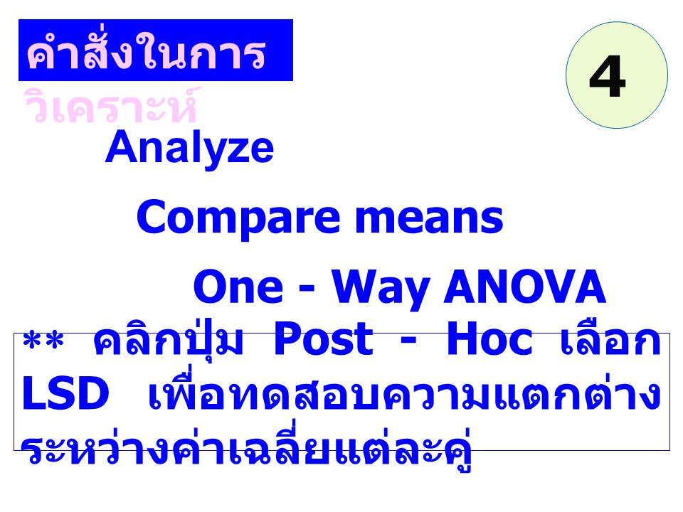 Analyze Compare means คำสั่งในการ วิเคราะห์ One - Way ANOVA  คลิกปุ่ม Post - Hoc เลือก LSD เพื่อทดสอบความแตกต่าง ระหว่างค่าเฉลี่ยแต่ละคู่ 4