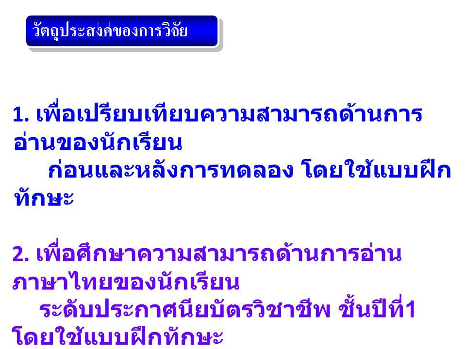 ตาราง 1 ผลการเปรียบเทียบความสามารถด้านการอ่านภาษาไทย โดยแบบฝึกทักษะของนักเรียนก่อนและหลังการทดลอง ผลการทดลอง ก่อนการทดลองหลังการทดลอง t XSDS.D.