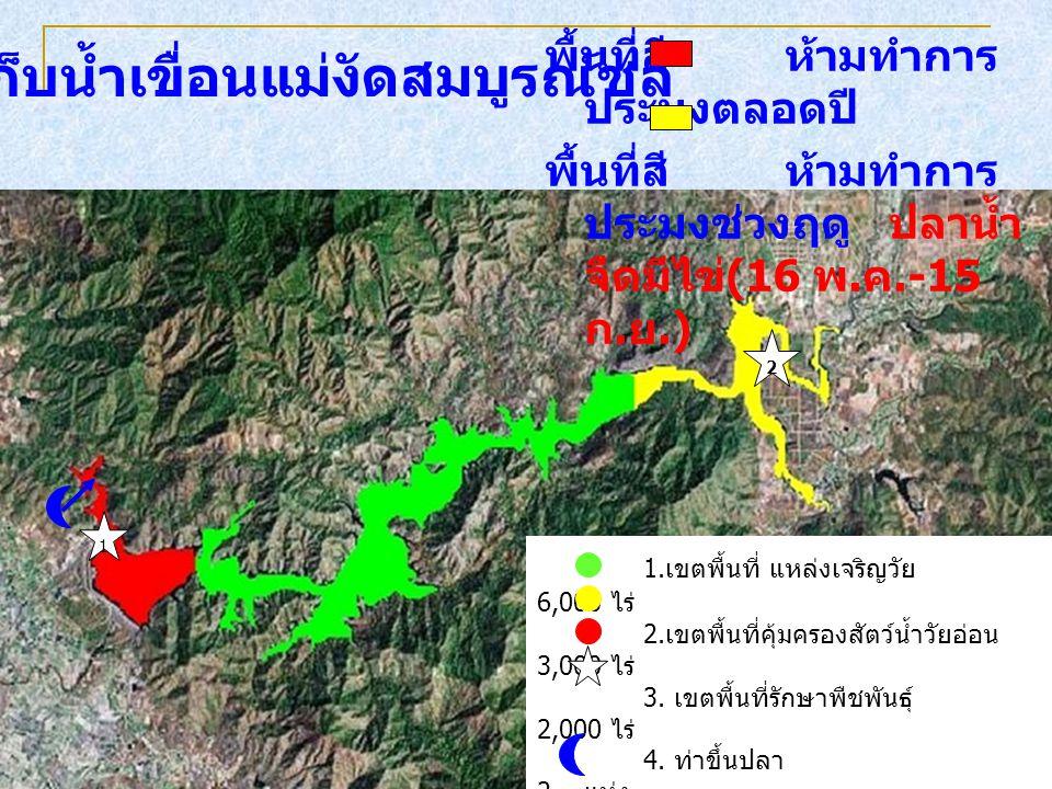 พื้นที่สี ห้ามทำการ ประมงตลอดปี พื้นที่สี ห้ามทำการ ประมงช่วงฤดู ปลาน้ำ จืดมีไข่ (16 พ. ค.-15 ก. ย.) อ่างเก็บน้ำเขื่อนแม่งัดสมบูรณ์ชล 1. เขตพื้นที่ แห
