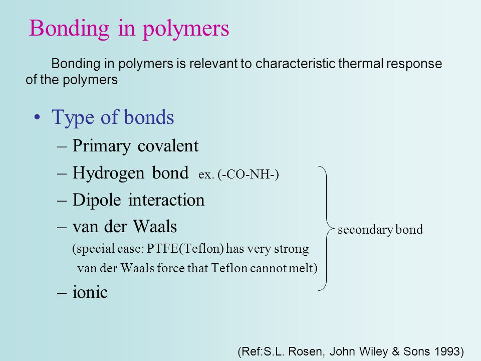 Bonding in polymers Type of bonds –Primary covalent –Hydrogen bond ex. (-CO-NH-) –Dipole interaction –van der Waals (special case: PTFE(Teflon) has ve