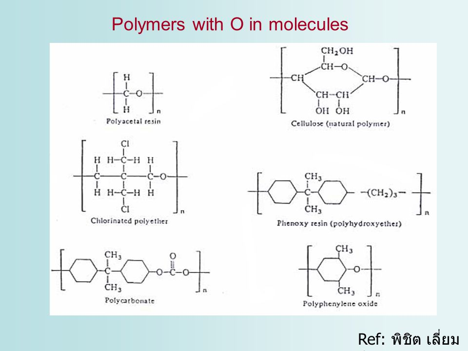 Ref: พิชิต เลี่ยม พิพัฒน์ พ. ศ.2542 Polymers with O in molecules