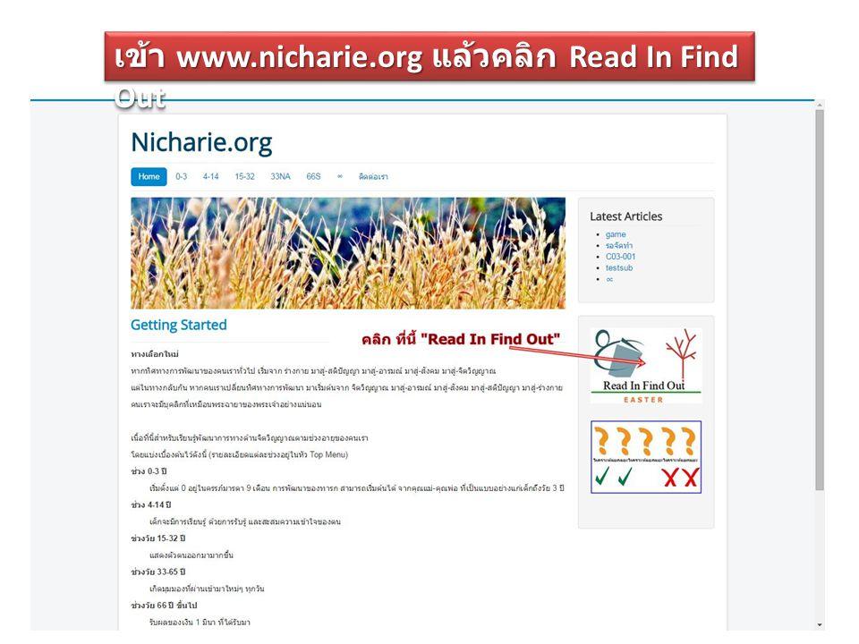 เข้า www.nicharie.org แล้วคลิก Read In Find Out