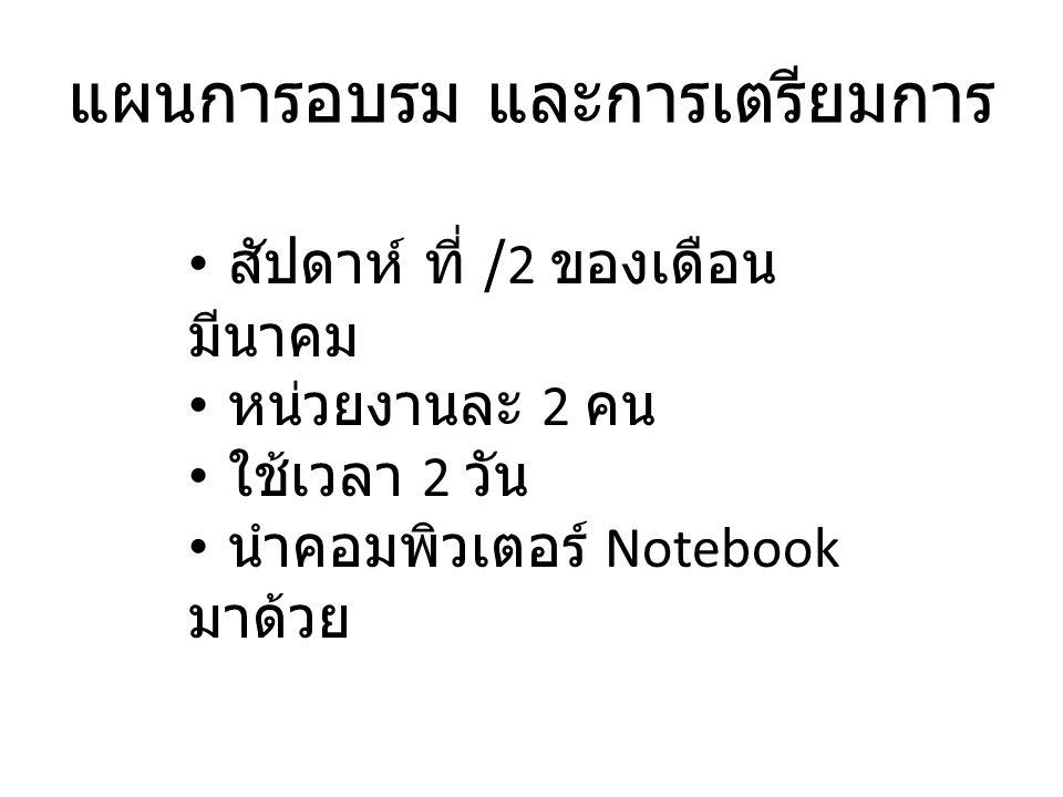แผนการอบรม และการเตรียมการ สัปดาห์ ที่ /2 ของเดือน มีนาคม หน่วยงานละ 2 คน ใช้เวลา 2 วัน นำคอมพิวเตอร์ Notebook มาด้วย