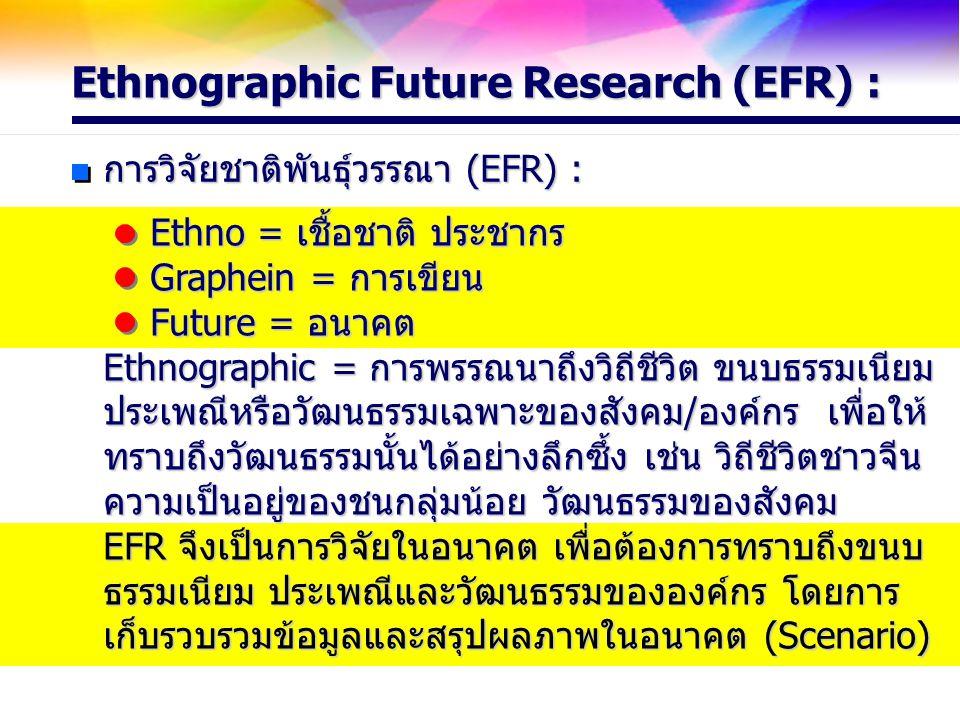 Ethnographic Future Research (EFR) : การวิจัยชาติพันธุ์วรรณา (EFR) : Ethno = เชื้อชาติ ประชากร Graphein = การเขียน Future = อนาคต Ethnographic = การพร